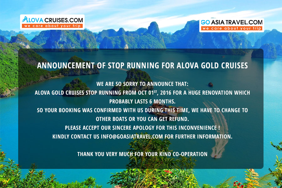 ANNOUNCEMENT OF STOP RUNNING FOR ALOVA GOLD CRUISES